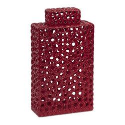 iMax - iMax Carson Tall Cutwork Urn X-88578 - With a striking and bold red color, this tall modern stylized cutwork urn features a rectangular geometric form accented by organically derived circle cut outs.