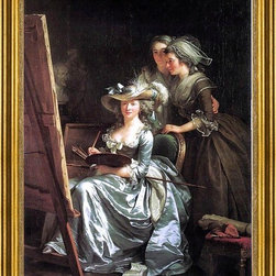 """Adela?Øde Labille-Guiard-16""""x24"""" Framed Canvas - 16"""" x 24"""" Adela?Øde Labille-Guiard Self-Portrait with Two Pupils framed premium canvas print reproduced to meet museum quality standards. Our museum quality canvas prints are produced using high-precision print technology for a more accurate reproduction printed on high quality canvas with fade-resistant, archival inks. Our progressive business model allows us to offer works of art to you at the best wholesale pricing, significantly less than art gallery prices, affordable to all. This artwork is hand stretched onto wooden stretcher bars, then mounted into our 3"""" wide gold finish frame with black panel by one of our expert framers. Our framed canvas print comes with hardware, ready to hang on your wall.  We present a comprehensive collection of exceptional canvas art reproductions by Adela?Øde Labille-Guiard."""