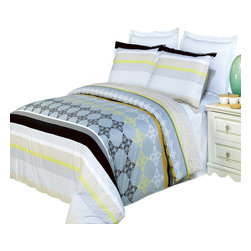Bed Linens - South Gate Printed Multi-Piece Duvet Set King/California King 4PC Comforter Set - Enjoy the comfort and Softness of 100% Egyptian cotton bedding with 300 Thread count fiber reactive prints.*100% Egyptian cotton *300 Thread count *Reactive Print, lasts longer and looks like real live pictures .