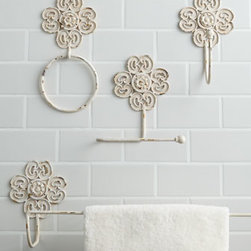 "Horchow - Antiqued-White Iron Bath Accessories - Wall-mount iron bath accessories have an antiqued white finish and golden highlights. Dimensions are approximate. Towel bar, 30.25""W x 5""D x 7.25""T. Tissue holder, 8""W x 4""D x 8.25""T. Hook, 5.25""W x 5.25""D x 9""T. Towel ring, 5.5""W x 1""D x 11.25""T. ..."