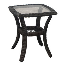 Forever Patio - Santa Monica Outdoor Patio Rattan End Table - The Forever Patio Santa Monica Outdoor Wicker End Table (SKU FP-SM-ET-CP) features an intricate braiding of High-Density Polyethylene (HDPE) reminiscent of Old World craftsmanship with modern materials. Each strand of wicker is infused with a rich Cappuccino color and UV-inhibitors to give it long-lasting color, even in regular exposure to the sun. This patio wicker end table is supported by thick-gauged, powder-coated aluminum frames that make it more durable than natural rattan. This table includes a tempered glass top, adding a touch of elegance. Tempered glass is specifically manufactured to be stronger than conventional glass, making it well suited as a table surface.