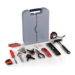 Picnic Time - Apprentice Toolkit, Grey - The Apprentice Tool Kit features an assortment of tools and fasteners you will need for basic home maintenance and repairs. The kit comes in Grey molded plastic compact carrying case. This kit is the perfect gift for anyone who enjoys doing handy work and repairs around the house.