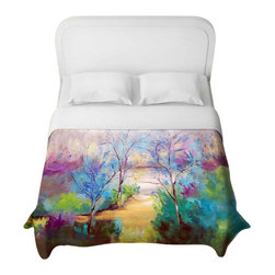 DiaNoche Designs - And God Saw That It Was Good Duvet Cover - Lightweight and super soft brushed twill duvet cover sizes twin, queen, king. Cotton poly blend. Ties in each corner to secure insert. Blanket insert or comforter slides comfortably into duvet cover with zipper closure to hold blanket inside. Blanket not included. Dye Sublimation printing adheres the ink to the material for long life and durability. Printed top, khaki colored bottom. Machine washable. Product may vary slightly from image.