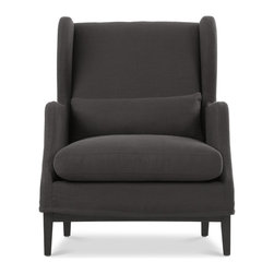 Bryght - Oscar Gray Armchair - The Oscar collection strikes a perfect balance between traditional and contemporary. A modern wing back, the Oscar armchair is practical and sturdy yet sleek with its clean design lines allowing you to sit back and unwind in your own personal throne.