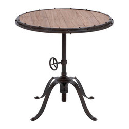 Benzara - Metal Wood Round Table 30in.H, 30in.W Accent Collection - Size: 30 Wide x 30 Depth x 30 High (Inches)