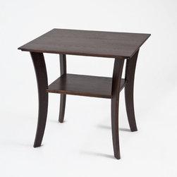 Manchester Wood - Contemporary End Table - Features: -Rectangular shape.-Provides an elegant look.-Designed to hold a lamp along with storage facility.-Made in USA.-Solid ash construction.-Stain resistant lacquer finish.-Contemporary collection.-Collection: Contemporary.-Distressed: No.-Powder Coated Finish: No.-Gloss Finish: No.-Base Material: Solid wood.-Top Material: Solid wood.-Inlay Material: Solid wood.-Solid Wood Construction: Yes.-Number of Items Included: 1.-Nesting Tables: No.-UV Resistant: No.-Scratch Resistant: Yes.-Stain Resistant: Yes.-Exterior Shelves: Yes -Number of Exterior Shelves: 1.-Adjustable Exterior Shelves: No..-Cabinets Included: No.-Glass Component: No.-Legs Included: Yes -Leg Type: Elegant curved legs..-Casters: No.-Lighted: No.-Reclaimed Wood: No.-Adjustable Height: No.-Outdoor Use: No.-Swatch Available: Yes.-Commercial Use: Yes.-Recycled Content: No.-Eco-Friendly: Yes.-Product Care: Dust as needed with soft cloth. Clean with damp cloth and mild solution of dish soap. Polish with soft cloth and polish that contains no pigment or silicone.-Country of Manufacture: United States.-Built In Outlets: No.-Powered: No.Specifications: -FSC Certified: No.-EPP Compliant: No.Dimensions: -Overall Height - Top to Bottom: 24.-Overall Width - Side to Side: 23.-Overall Depth - Front to Back: 20.-Table Top Thickness: 0.75.-Table Top Width - Side to Side: 22.-Overall Product Weight: 20.-Shelving: -Shelf Height - Top to Bottom: 9.-Shelf Width - Side to Side: 16.-Shelf Depth - Front to Back: 12..-Legs: -Leg Height - Top to Bottom: 23.25.-Leg Width - Side to Side: 0.75.-Leg Depth - Front to Back: 2.5..-Table Top Depth - Front to Back: 20.Assembly: -Assembly Required: Yes.-Tools Needed: Screwdriver, hammer.-Additional Parts Required: No.Warranty: -Product Warranty: Free of manfacturing defects at time of shipment.