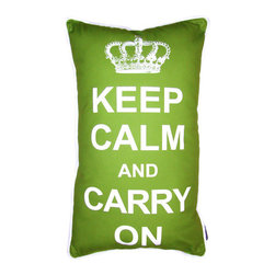 lava - Keep Calm Pillow in White on Green - Sensational yet relaxing, this bold throw pillow displays the popular Keep Calm mantra. Features: -Pillow. -Durable 100% polyester cover and fill. -Add elegant style to your home decor with lava decorative throw pillows. -Spot clean only. -Made in the USA.
