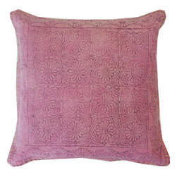 JITI - Purple Art Pillow - At first glance, this pillow reads as a solid, but look closer and you'll see the subtle etchings of flowers and leaves. You'll love the overall effect, which is lush, intricate and, above all, beautiful: A lovely intersection to rest your style and your head.