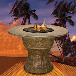 California Outdoor Concepts - Palm Fire Pit Bar Table - It's 5o'clock somewhere, right?  This bar table definitely belongs in one of Jimmy Buffet's Margaritaville locations.  Someone could easily incorporate this fire table into a tiki bar or lounge.  Just don't use the fireplace after drinking too many margaritas!