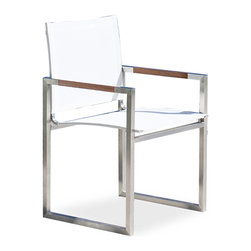 Harbour Outdoor - Garden Court Mesh Dining Chair - A bold, modern, and distinctively sophisticated stainless steel frame, played together seamlessly with the elegance and quiet luxury of teakwood arm inlays define the Garden Court Mesh Dining Chair by Harbour Outdoor. This modern dining chair is sure to stand out in any outdoor venue with its crisp, clean angles and statement-making rectangular frame. The Batyline mesh seat and back are not only comfortable, but specifically developed by Ferrari of France to be virtually impossible to tear or sag, quick-drying, and mold, fade, and UV resistant. This chair, and whoever is in it, is sure to get noticed anywhere you put it.