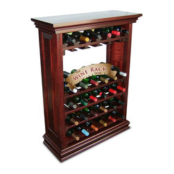 30 Bottle Wine Cabinet With Stemware Holders - Shown here in Mahogany finish. Features our standard racking inside beautiful raised panels, solid decorative top and baseboard! Any of our finishes make this piece of wine rack furniture a great addition to any room.