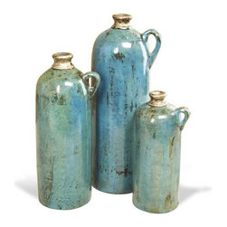 Interlude Home - Interlude Home Jamari Vases - Ocean - These Interlude Home Vases are crafted from Ceramic and finished in Antique Silver and Teal.  Overall sizes are: 6 in. W  x  5 in. D x 15 in. H.  5 in. W  x  4 in. D x  12 in. H.