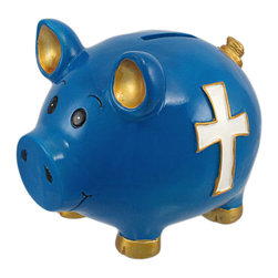 Zeckos - Bright Blue Christian Cross Pig Piggy Bank Money Coin - This adorable, electric blue cold cast resin pig money bank features a white Christian cross, accented with metallic gold enamel, on each side. He also has metallic gold painted feet, ears and tail. The pig measures 5 inches tall, 4 1/2 inches wide and 6 inches long. The bank empties via a twist-off plastic piece on the bottom. This bank is hand-painted, and makes a great gift.