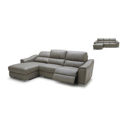 VIG Furniture - 1710 Grey Top Grain Leather Sectional Sofa With Reclining Footrests - The 1710 sectional sofa will be a great addition to any living room decor that need's a touch of modern design. This sectional comes upholstered in a beautiful grey top grain leather in the front where your body touches. Skillfully chosen match material is used on the back and sides where contact is minimal. High density foam is placed within the cushions for added comfort. The sectional features a built-in adjustable footrests for that extra touch of relaxation.