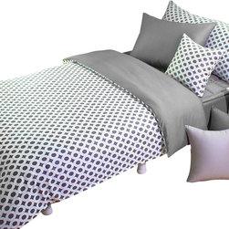 Silver Fern Decor - Sateen Modern White & Gray Circle Pattern King Duvet Cover Set, Twin - eatures)