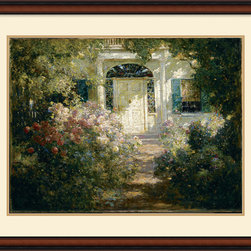 Amanti Art - Doorway and Garden Framed Print by Abbott Fuller Graves - Artist Abbott Fuller Graves uses shadows to evoke the quieter side of late afternoons in an inviting garden entrance.
