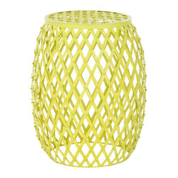 Safavieh - Safavieh Evan Iron Strips Welded Stool in Matte Yellow - Industrial chic meets the pop coloration of Andy Warhol in the Evan Iron Strips stool. Thick iron strips are welded together in a bold, classic diamond pattern that boasts a bright neon yellow hue. It is perfect as an accent piece, but not afraid to stand on its own as a focal point in any room. What's included: Stool (1).