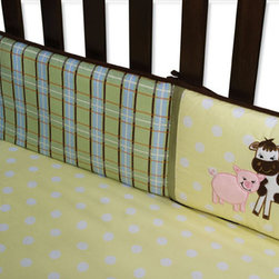 """Trend Lab - Baby Barnyard - Crib Bumpers - Trend Lab's Baby Barnyard Crib Bumpers feature animal appliques embroidered onto patches of a white and butter yellow dot print. A charming plaid print in sage, sky blue, cream, burnt orange and chocolate brown and a blue and white ticking stripe add classic barnyard flair. Trim and ties feature chocolate brown and avocado ultrasuede and add the finishing touch. Bumpers consist of two long and two short pieces measuring 10"""" tall. Matching Baby Barnyard 3 Piece Crib Bedding Set sold separately. Complete your child's room with coordinating accessories from the Baby Barnyard collection by Trend Lab."""