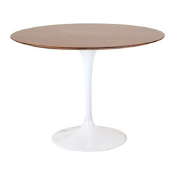 Fine Mod Imports - Fine Mod Imports Flower Wood Top Dining Table in Walnut - 42 Inch - The Flower table has a Wood top in Its base is a heavy molded Cast aluminum in while the shell is in reinforced molded fiberglass base.