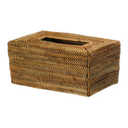 Kouboo - Rectangular Tissue Box Cover in Nito, Brown, Tall - Keep your tissue boxes in the open by covering them up with this refined, hand-woven tissue box cover. The alternating, earthy colors of the nito vines add a sophisticated accent to the space they will fill.