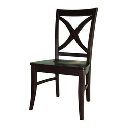 International Concepts - Salerno X-Back Chair w Solid Wood Seat - Set of 2 - Set of 2. Cosmopolitan Collection. Box seat construction. Made of solid wood. Assembly required. 23 in. W x 19.5 in. D x 42 in. H (46 lbs.). Seat height: 17.75 in.