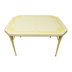 Pre-owned Vintage Faux Bamboo Greek Key Table - A cute vintage laminate table, perfect for a smaller space. The top has a yellow faux bamboo Greek key design, and the legs are faux bamboo finished in a high gloss cream color. The table splits apart in the middle, and looks as though the original color was bright yellow.