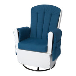Foundations - Foundations SafeRocker SS Swivel Glider White/Blue - Features a steel gliding mechanism that provides unprecedented durability making it the only authentic commercial glider that can withstand the demands of a child care environment. The only child care glider/rocker with a solid steel mechanism. Full skirt base protects children from mechanism. Arm rest designed for support while feeding. Features durable gliding mechanisms and tip resistant base. Extra-wide seat is comfortable and perfect for rocking and feeding. Deep pockets for storage keep baby's necessities within reach.