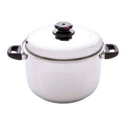 Maxam - Steam Control™ 12qt 12-Element T304 Stainless Steel Stockpot - Features large 3 gallon size; unique Steam Control™ valve for minimum moisture cooking; and riveted phenolic handles resistant to heat, cold and detergents. The stainless steel construction spreads heat evenly for fast cooking. Limited lifetime warranty. White box.