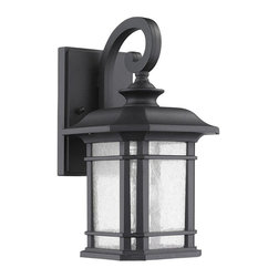 Chloe Lighting - Franklin Light Black Outdoor Wall Sconce - Aluminum, glass and electrical components. Overall: 10.5 in. L x 9.5 in. W x 17 in. H (5.13 lbs.)FRANKLIN, collection outdoor wall sconce fixture is perfect for illuminating warm presentation to your home's exterior. This wall-mountable sconce is UL approved for your safety, weatherproof, and is made from aluminum and glass.