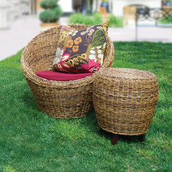 Urban Home Maya Armchair - Made of Durable Banana Grass with a plush seat cushion. Cover when not in use.