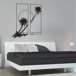 StickONmania - Palm Tree Design Sticker - A nice palm tree design for your home. Decorate your home with original vinyl decals made to order in our shop located in the USA. We only use the best equipment and materials to guarantee the everlasting quality of each vinyl sticker. Our original wall art design stickers are easy to apply on most flat surfaces, including slightly textured walls, windows, mirrors, or any smooth surface. Some wall decals may come in multiple pieces due to the size of the design, different sizes of most of our vinyl stickers are available, please message us for a quote. Interior wall decor stickers come with a MATTE finish that is easier to remove from painted surfaces but Exterior stickers for cars,  bathrooms and refrigerators come with a stickier GLOSSY finish that can also be used for exterior purposes. We DO NOT recommend using glossy finish stickers on walls. All of our Vinyl wall decals are removable but not re-positionable, simply peel and stick, no glue or chemicals needed. Our decals always come with instructions and if you order from Houzz we will always add a small thank you gift.