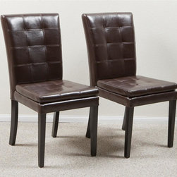 Best Selling Home - Barrington Leather Dining Chair - Set of 2 - Set of 2. Average height seat back. Multi-layered seat. Slightly curved wooden legs. Sturdy hardwood frame for stability and durability. Plush seat cushion for maximum comfort. Useful in dining room and any other room. Provides comfortable additional seating. Seat height: 19.75 in. H. 25 in. W x 19.25 in. D x 39 in. HBeautiful bonded leather is buttery soft and easy to care for.