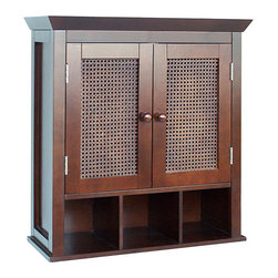None - Jasper 2-door Wall Cabinet - A Jasper espresso-colored two-door bathroom cabinet adds storage space to your lavatory that is traditional and sophisticated. This wood cabinet features hand-woven cane panels that give it a unique look and three lower cubbies for added storage.