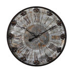 Uttermost - Uttermost Artemis Antique Wall Clock - Brushed aluminum face with rust distressing and oil rubbed bronze details with gold highlights. Quartz movement.