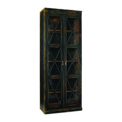 Hooker Furniture - Two-Door Thin Display Cabinet, Ebony - Whether they're books or bobbins or bobblehead dolls, your collections will shine in this tall, lighted display cabinet. With its high quality construction and elegant, diamond-mullioned glass doors, it even adapts to fit your treasures with a choice of exterior finishes, a reversible back panel and adjustable shelves.