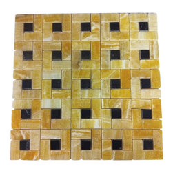 """Marbleville - Honey Onyx 1"""" x 2"""" Pinwheel Pattern Polished Finish  with 3/8 Black Dot Insert M - Premium Grade Honey Onyx 1"""" x 2"""" Pinwheel Pattern Polished with 3/8 Black Dot Insert Mesh-Mounted Marble Mosaic is a splendid Tile to add to your decor. Its aesthetically pleasing look can add great value to the any ambience. This Mosaic Tile is constructed from durable, selected natural stone Marble material. The tile is manufactured to a high standard, each tile is hand selected to ensure quality. It is perfect for any interior/exterior projects such as kitchen backsplash, bathroom flooring, shower surround, countertop, dining room, entryway, corridor, balcony, spa, pool, fountain, etc."""