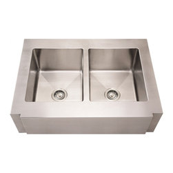 Whitehaus - Noah's Commercial Double Bowl Kitchen Sink - Includes mounting hardware and template. Decorative notched front apron. Zero radius corners. 18/8 chrome and nickel content. Full undercoat under sound deadening pads. 3.5 in. rear center drain opening. Each bowl has four diagonal drain grooves to channel water directly to the drain. Made from 16 gauge stainless steel. Brushed stainless steel color. Inside: 14.25 in. L x 18 in. W x 10 in. H. Outer: 36 in. L x 26.25 in. W x 10 in. H (45 lbs.). Warranty. Care and Maintenance