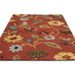 """Grandin Road - Floral Leaf Area Rug - 5' x 8' - Beautifully plush, silky pile. 100% New Zealand wool. Large, leafy florals with subtle punches of ivory, marigold, olive, and dusty blue. Deeply dyed Navajo red background. """"Don't hesitate to extend yourself. Mix it up with fresh shapes, rich color, and intriguing patterns. Defining your sense of style is a wonderful journey with no map--just follow Grandin Road."""" — GRANDIN ROAD EDITORS This hand-tufted Floral Leaf Area Rug is comfortable and luxurious wherever it is placed. This rug adds an exciting, soft touch to bare hardwood floors, or layer it indulgently over a carpeted space to experience an instant transformation.. . . . Imported."""