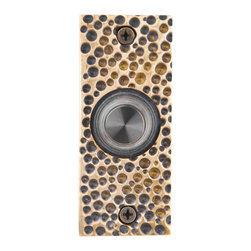 Waterwood - Solid Brass Small Hammered Plate Doorbell in Antique Brass - The Waterwood Solid Brass Small Hammered Plate Doorbell's rustic quality and old world charm will compliment your front porch and door hardware. This solid brass doorbell is crafted using the sand casting technique. It is then hand finished and coated with a protective lacquer to withstand the elements. Waterwood doorbells are easy to install and will add personality to your home. It comes with a lighted push button and mounting screws.