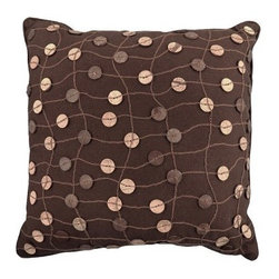 Vintage House by Park B. Smith Button Decorative Pillow - Brown - Buttons and string decorate the Vintage House by Park B. Smith Button Decorative Pillow - Brown. This charming addition to your couch or bedding ensemble is made of natural cotton in a warm chocolate brown and may be spot cleaned.