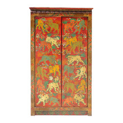 Golden Lotus - Tibetan Style Hand Painted Foo Dogs Pattern Armoire Cabinet - This is a vintage Tibetan style foo dogs pattern solid elm wood armoire cabinet. Nice antique cabinet with gorgeous pattern hand painted by unknown artist. It has movable shelves for accessories storage or as an armoire.