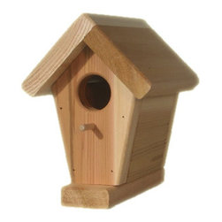 All Things Cedar - Cedar Birdhouse - Traditional style Cedar Bird House with front perch pole. Great afternoon enjoyment watching wildlife in your own backyard Item is made to order.