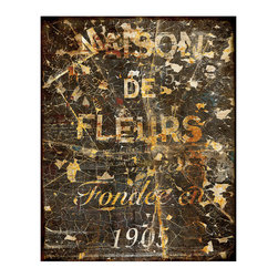 Maison De Fleurs Crackle Giclee - Unframed - Crazed and flaking paint is echoed in the more subtle, hand-applied crackle finish of the Maison De Fleurs Giclee. A print in weathered deep black and the natural warm gold of light oak, this artwork presents the illusion of a salvaged sign from old France, and the momentary difficulty of reading its message contributes to a sense of timelessness.