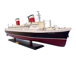 "Handcrafted Model Ships - SS United States Limited 40"" - Famous Model Cruise Ship - Celebrating the holder of the Blue Riband for the fastest trans-Atlantic crossing by a passenger vessel, the Limited Edition SS United States model cruise ship is built with the finest craftsmanship and demanding attention to every detail, evoking the elegance and grandeur of a bygone era. These exquisite Limited Edition cruise ship models of the famous SS United States will carry you back to the heyday of the grand trans-Atlantic ocean liners."