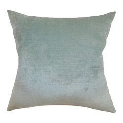 The Pillow Collection - Haye Plain Pillow Aqua - Decorate your home with a touch of opulence and elegance by propping this throw pillow. This richly aqua-colored accent pillow comes with a fine 100% velvet fabric which comes with a high sheen. This exceptionally soft decor pillow is ideal in many settings and decor styles. This square pillow is durable and easy to clean. Hidden zipper closure for easy cover removal.  Knife edge finish on all four sides.  Reversible pillow with the same fabric on the back side.  Spot cleaning suggested.