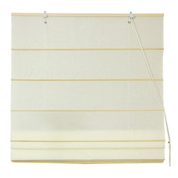 Oriental Furniture - Cotton Roman Shades - Cream - (36 in. x 72 in.) - These Cream colored Roman Shades combine the beauty of fabric with the ease and practicality of traditional blinds. They are made of 100% cotton and are easy to hang, and easy to open and close.