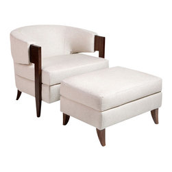 Interlude - Interlude Kelsey Chair and Ottoman, Cream - A mink hue and a dark cerused oak frame give the handsome Kelsey Chair and Ottoman stylish, timeless appeal.