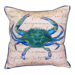 Betsy Drake - Betsy Drake Male Blue Crab Beige Pillow- Indoor/Outdoor - Male Blue Crab Beige Pillow-Large indoor/outdoor pillow. These versatile pillows are equal at enhancing your homes seaside decor and adding coastal charm to an outdoor setting arrangment. They feature printed outdoor, fade resistant fabric for years of wear and enjoyment. Solid back, polyfill. Proudly made in the USA.