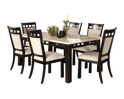 Standard Furniture - Standard Furniture Gateway White 7-Piece Dining Room Set in Dark Chicory Brown - Impressive proportions and bold styling give Gateway Dining a dynamic contemporary personality.