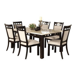 Standard Furniture - Standard Furniture Gateway White 7 Piece Dining Room Set in Dark Chicory Brown - Impressive proportions and bold styling give Gateway Dining a dynamic contemporary personality.